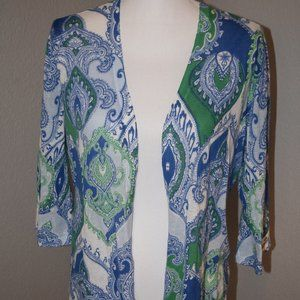 Chico's Green & Blue Paisley Cardigan Size 1/M